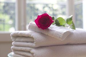 Imagen de unas toallas blancas y una rosa encima