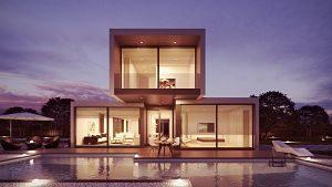 Imagen de una casa con las luces encendidas