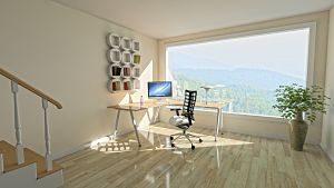 imagen de un despacho muy luminoso