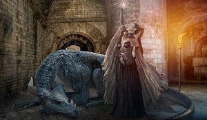 Imagen de la serie Juego de Tronos, con una princesa y un dragón