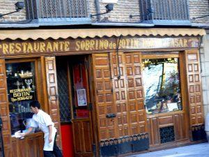 Fachada del restaurante Casa Botín, en Madrid